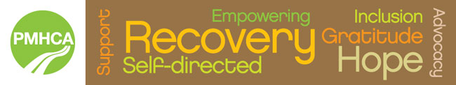 PMHCA logo with word collage including recovery, advocacy,