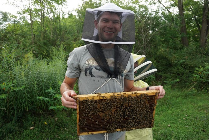 Vet Student with Bees