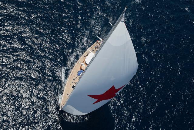 Arial photograph of the yacht Bolero.