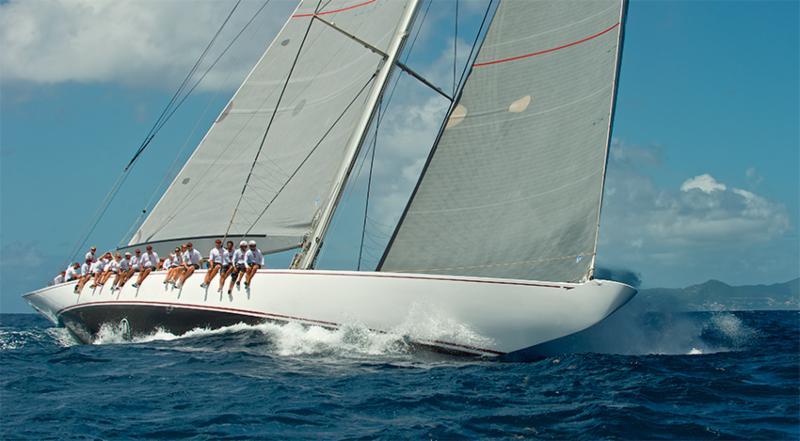 Photograph of J Class yacht Ranger racing.