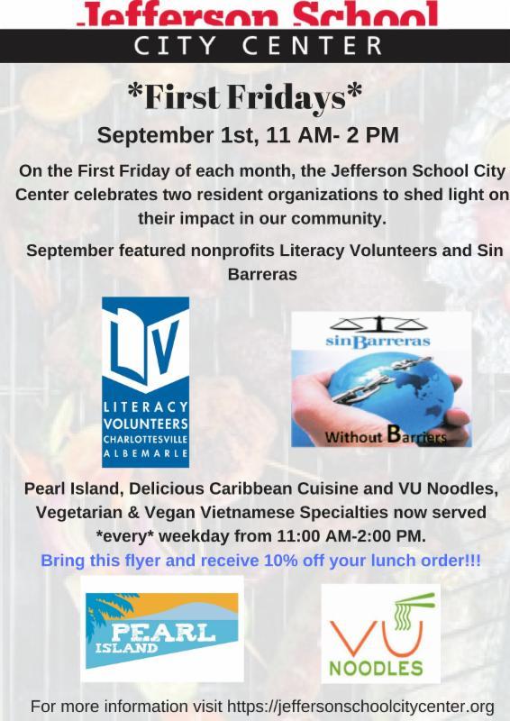 Jefferson School City Center First Friday Flyer September 1st
