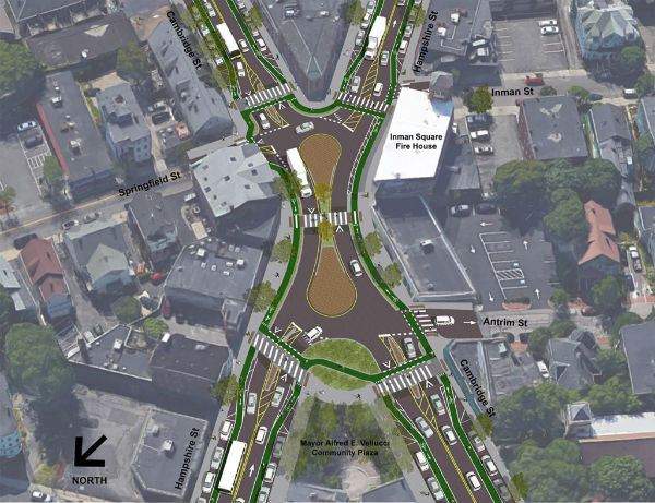 A proposed design in Cambridge. Imagecredit Kittelson and Associates via Boston Cyclists Union.