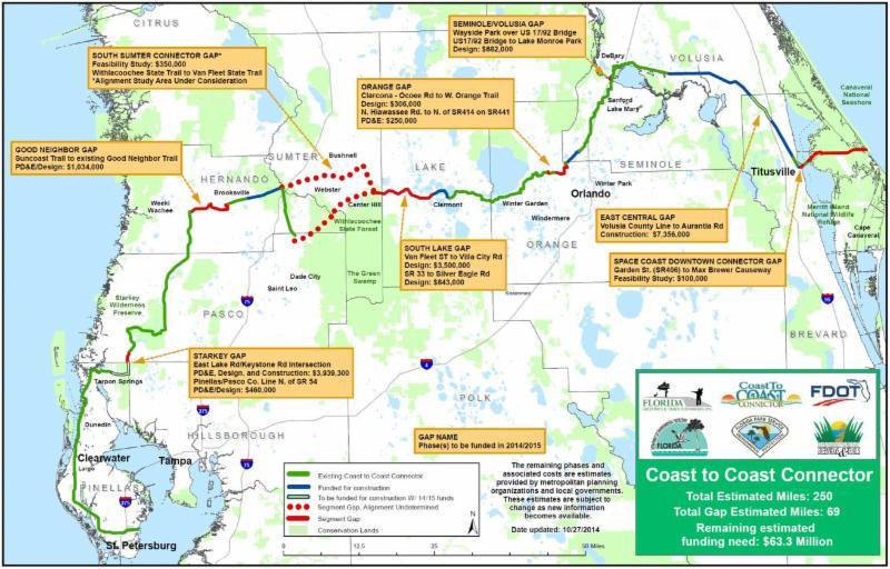Map of Gaps in the Coast to Coast Bike Trail