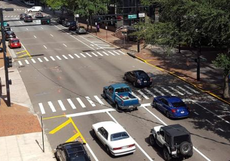 View of Jackson Street Traffic Downtown Tampa Near City Hall