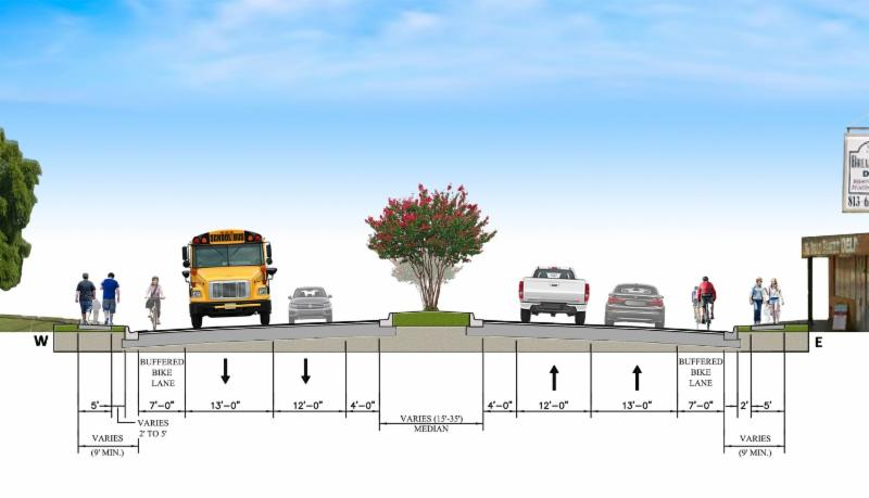 A section drawing of 40th street road diet improvements