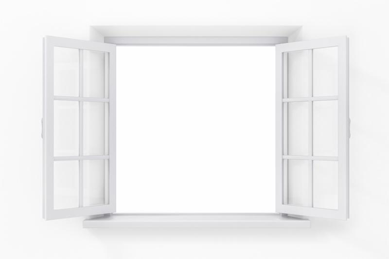 Open window in the white wall isolated on white background