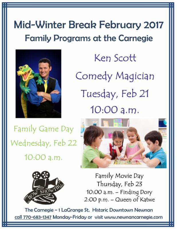 Carnegie Program – Family Programs for Mid-Winter Break downtown Newnan