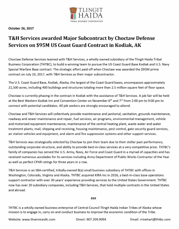 T H Services Llc Was Awarded A Major Subcontract By Choctaw Defense For 95 Million Prime Contract To Provide Facilities Maintenance On