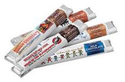 Chocolate candy bars of different flavors