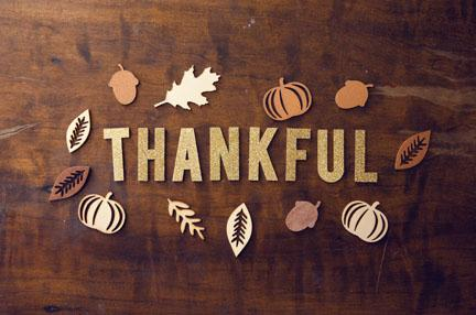 The word thankful with fall leaves around it