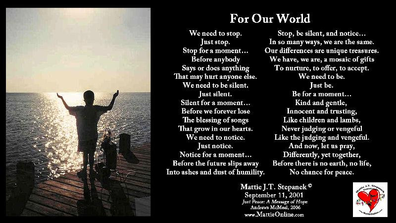 Mattie's For Our World poem
