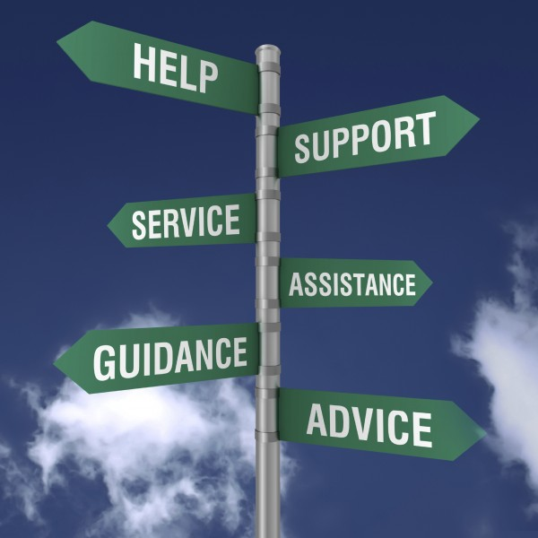 Street sign image of help, support, service, assistance, guidance