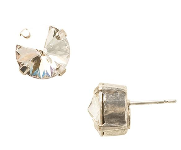 Sorrelli - Round Silver Shade Crystal Stud Earrings