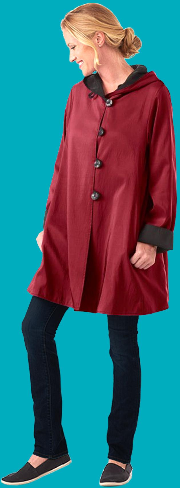Ruby and Black Reversible Water Repellant Jacket