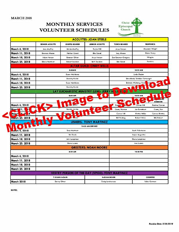 2018 March Volunteer Schedule DOWNLOAD