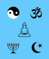 Graphic of religious symbols