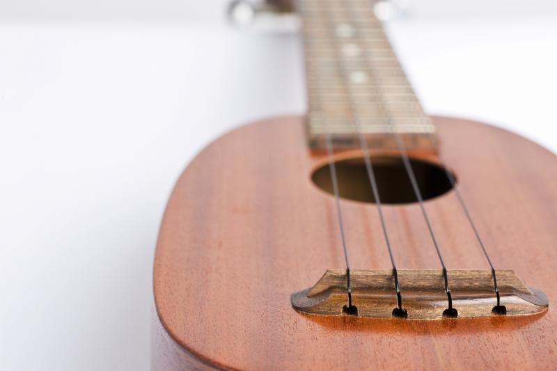 Ukulele music instrument on the white background