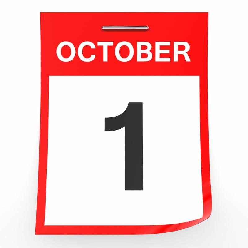 October 1. Calendar on white background. 3D illustration.