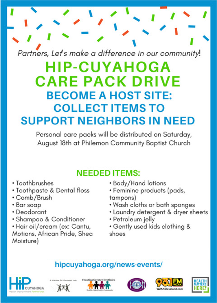 HIP Cuyahoga care pack drive 2018