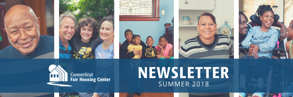 Newsletter header showing diversity of those served by the Center: elderly man; white couple with young child; African-American mom with three children; Latina woman standing in kitchen; African-American couple embracing young daughter in wheelchair