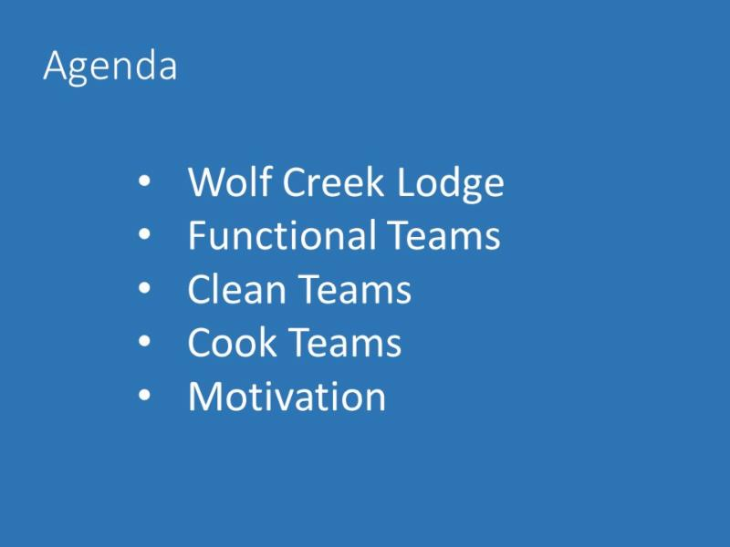 Agenda slide - Getting Work Done