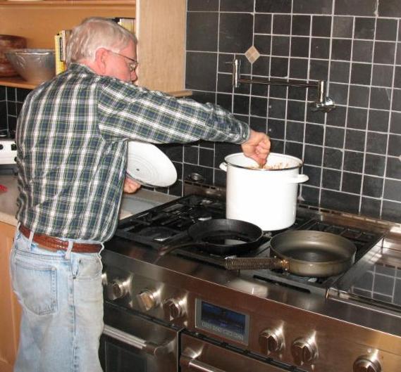Roger preparing soup