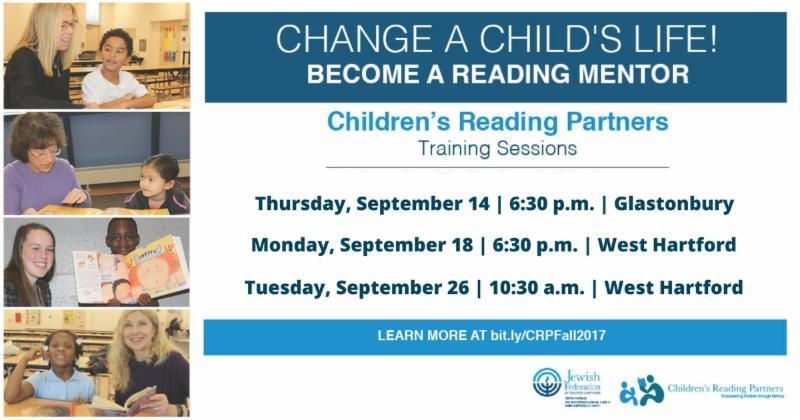 Become a Reading Mentor Training Sessions September 14, 18, 26 More info - bit.ly (backslash) CRPFall2017
