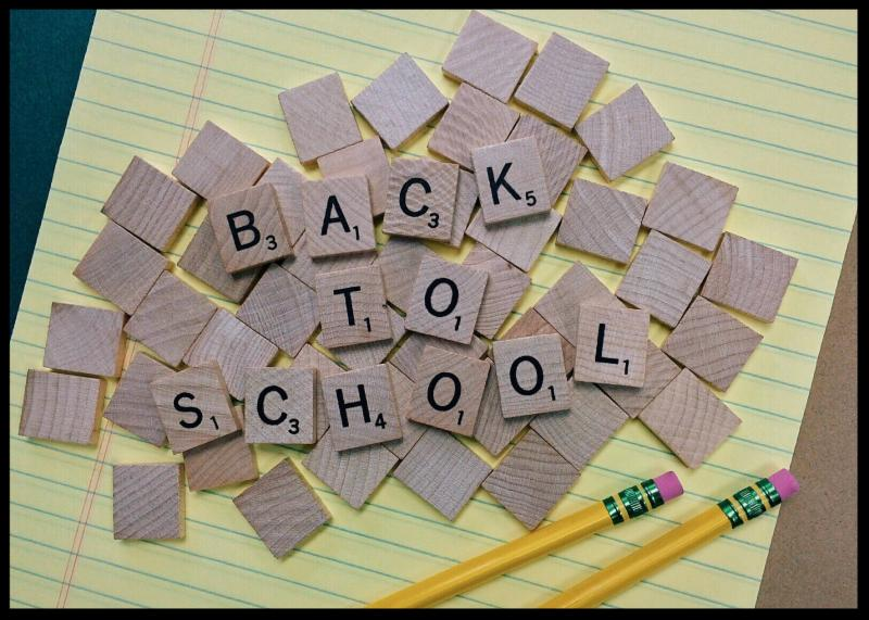 Scrabble tiles spelling out Back to School