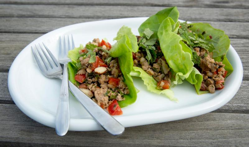 plate with lettuce wraps