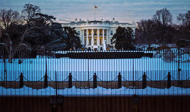 White House with snow