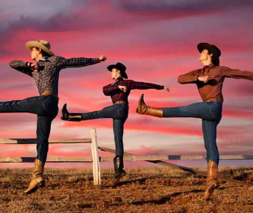 three cowboys dancing