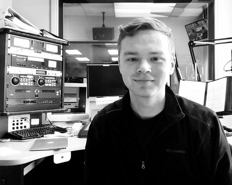 man in radio studio