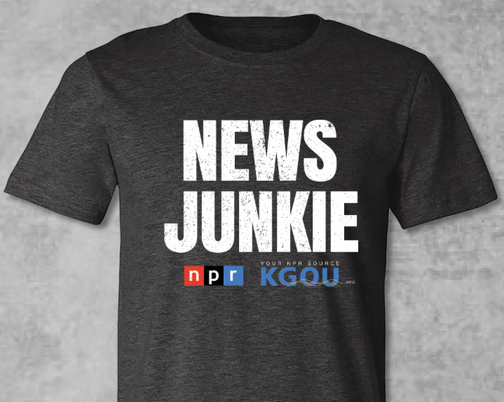 Tshirt with News Junkie and NPR and KGOU logos