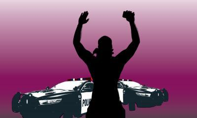 illustration of police car and man with hands raised