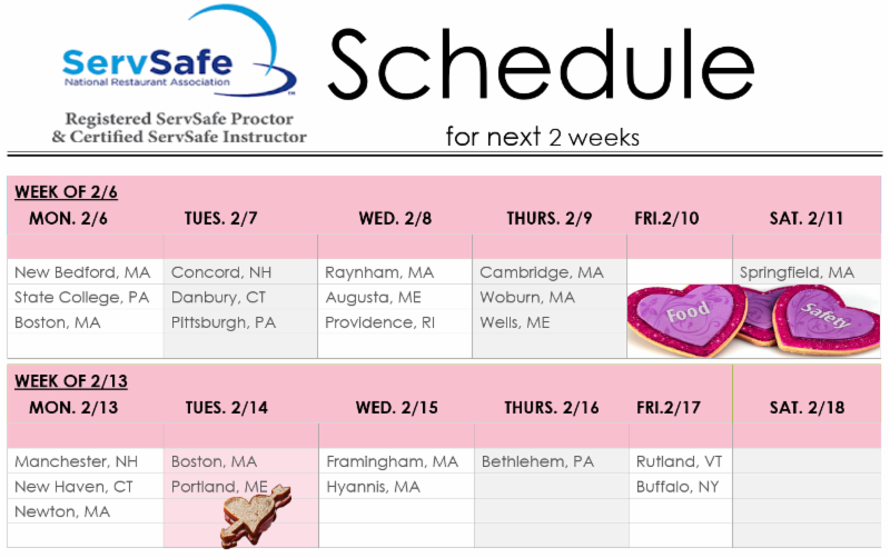 Servsafe Food Protection Manager Certification Class Schedule