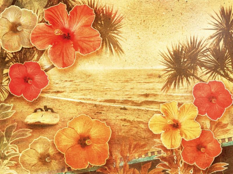 tropical retro beach setting decorated with hibiscus flowers