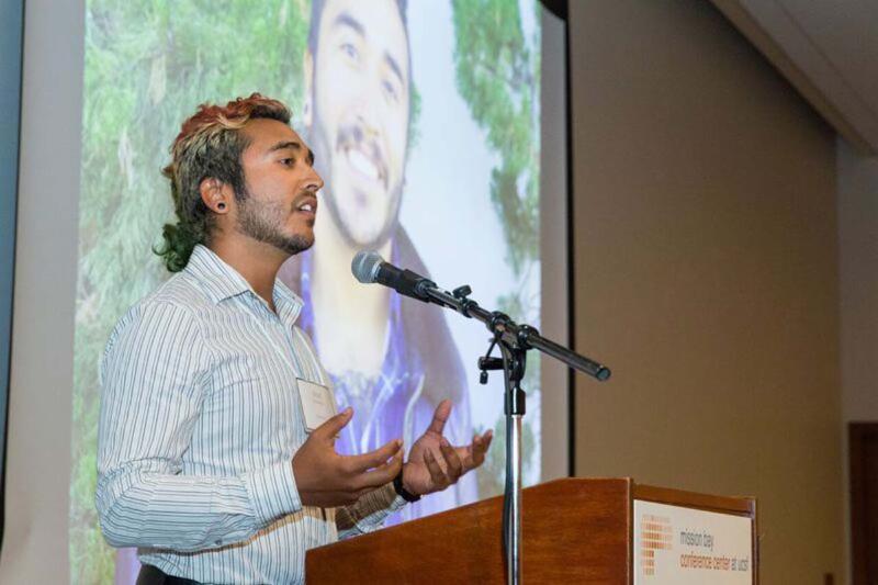 Uriel Hernandez speaks at Bay Nature awards dinner