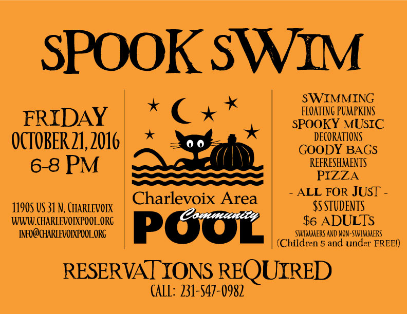 Annual spook swim at charlevoix pool for Www americanhouse com