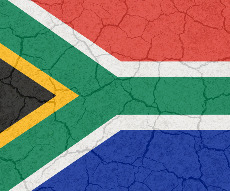 South African Flag with cracks