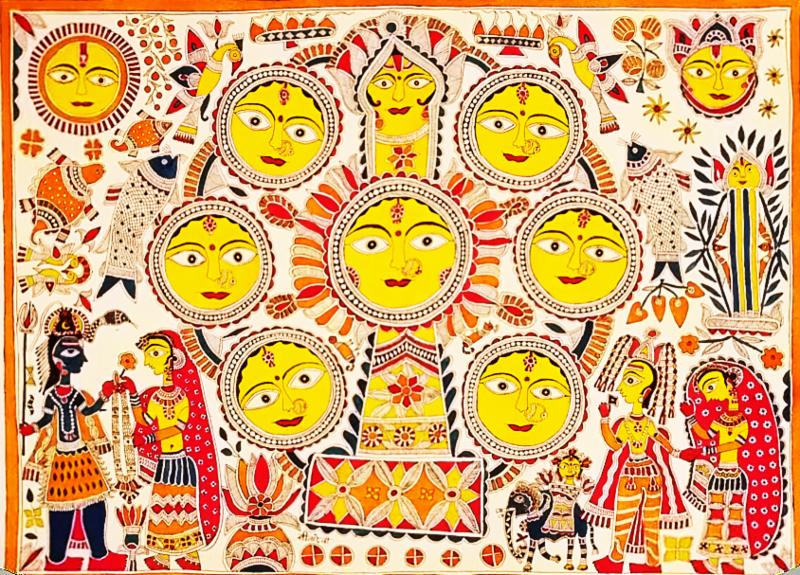 Kohbar style Madhubani painting by Padma Shri Sita Devi