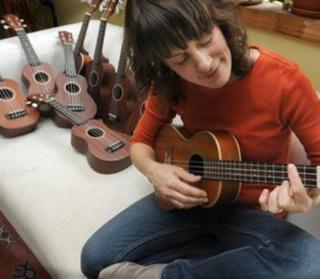 Julie Stepanek with her ukuleles