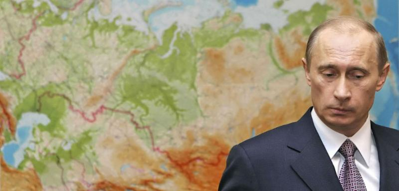 Russian President Vladimir Putin in front of a map of Asia