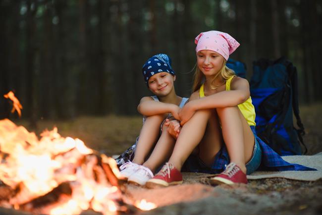 Girls at Campfire