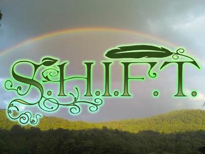 SHIFT Logo green writing on rainbow sky