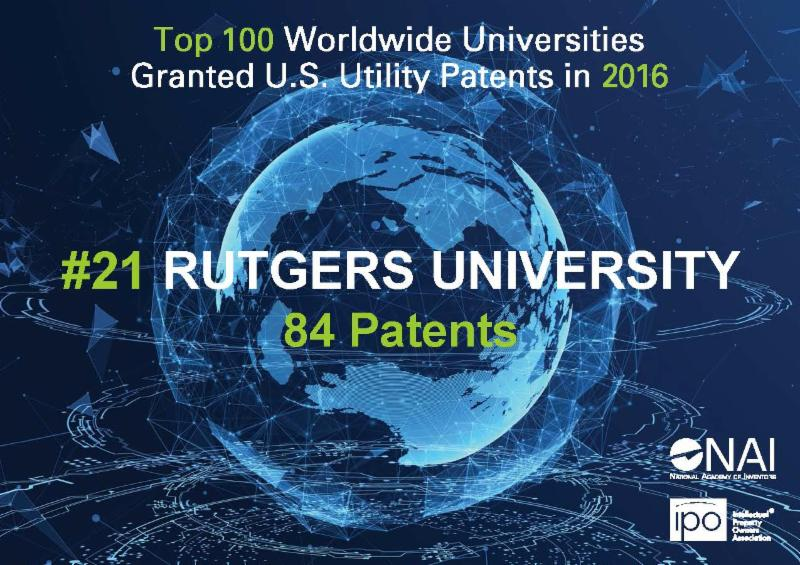 Rutgers Ranks 21st with 84 Patents in 2016