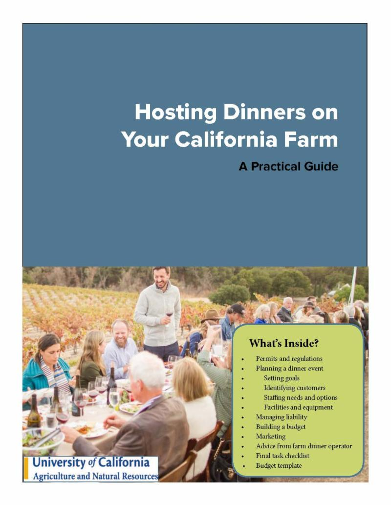 "cover of guide, ""Hosting Dinners on Your California Farm"""