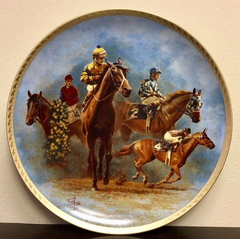 Fred Stone Collector Plate  Citation, Seattle Slew, Secretariat and Affirmed
