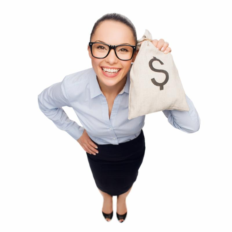 business, money and office concept - smiling businesswoman in eyeglasses holding money bag with dollar