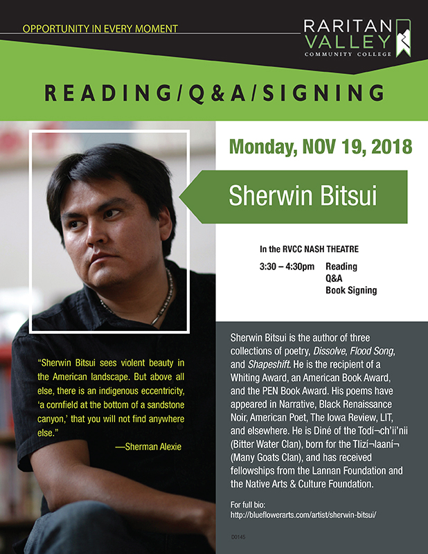 Reading by poet Sherwin Bitsui Free and Open to the Public