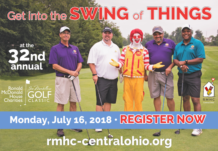 Ronald McDonald and golfers on the course welcoming registrants.